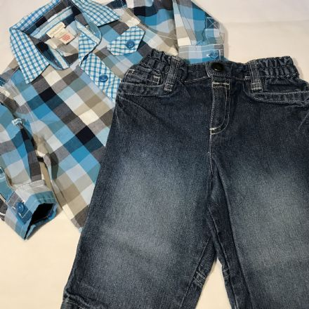 3-6 Month  Teal  Mixed Check Shirt and Jeans